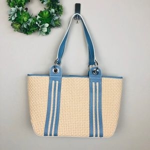 Maxx New York Straw/Light Blue Leather Purse